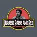 jurassic parks and rec logo shirt