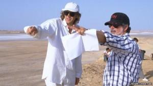 Christian on set of Phantom Menace with George Lucas. Image credit - BBC